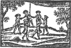 """Dancing Around the May-Pole"". An illustration from 'A Little Pretty Pocket Book for Children' John Newbery. (1744)"