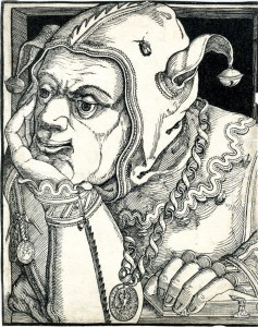 Woodcut of a jester. Hans Hanberg. Germany (1568)